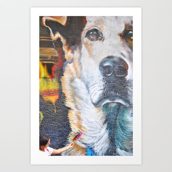 Few flowers as a tribute to the Loukanikos dog from Elisavet Art Print
