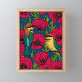 Bee eaters and poppies Framed Mini Art Print