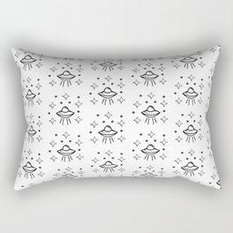 Spaceship Pattern in white Rectangular Pillow