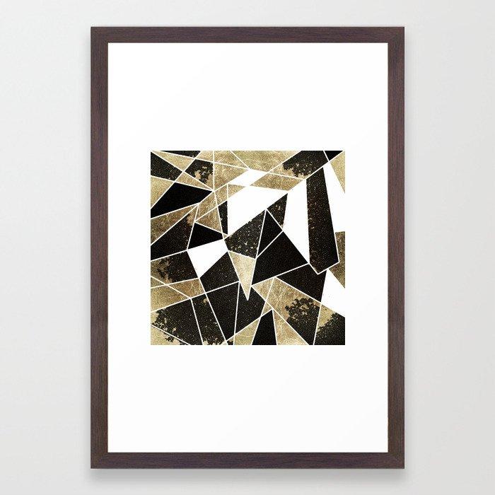 Modern Rustic Black White and Faux Gold Geometric Framed Art Print ...