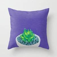 succulent Throw Pillows featuring Succulent by marlene holdsworth