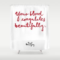 blood Shower Curtains featuring Blood-white by Kamoli Design