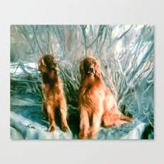 SETTERS IN SNOW Canvas Print