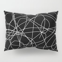 Abstract Black and White Minimal Linework Pillow Sham