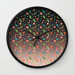 Black an red copper blend backdrop, with red flowers and green leaves Wall Clock