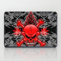 tattoos iPad Cases featuring Red Fire Skull with Tribal Tattoos by BluedarkArt