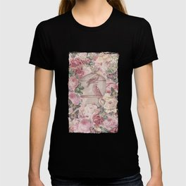 Romantic Flower Pattern And Birdcage T-shirt