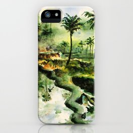 Sunny rice fields of Bali, Indonesia - Watercolor art iPhone Case