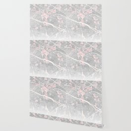 Pastel Pink & Grey Marble - Ombre Wallpaper
