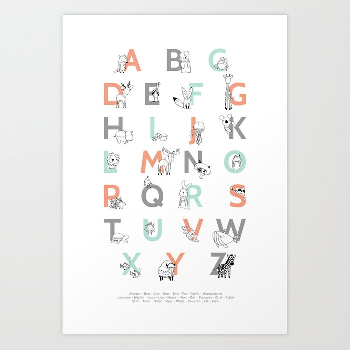 Discover the motif ANIMAL ALPHABET by Amy Hamilton as a print at TOPPOSTER