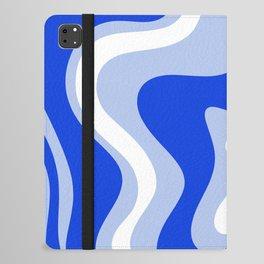 Retro Liquid Swirl Abstract Pattern Royal Blue, Light Blue, and White  iPad Folio Case