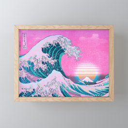Vaporwave Aesthetic Great Wave Off Kanagawa Sunset Framed Mini Art Print