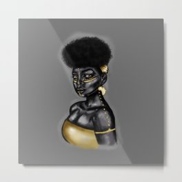 African Queen-Gold Metal Print
