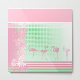 Baby Pink And Mint Green Flamingo Metal Print