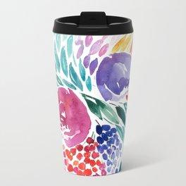 Floral Swirl Metal Travel Mug