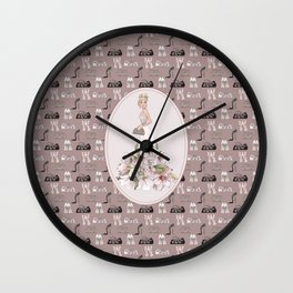 Luxury Girl Party Shoes Purse Pattern Wall Clock