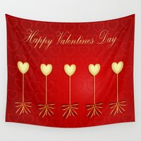 valentines Wall Tapestries featuring Happy Valentines Day Celebration by Wendy Townrow