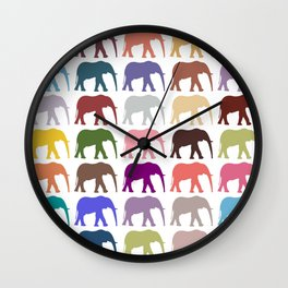 Colorful Elephants - Pink Purple Green Blue Wall Clock