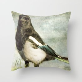 Message from the Magpie Throw Pillow