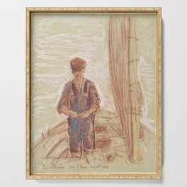 Fisherman, Isle of Shoals 1903 by Childe Hassam Serving Tray