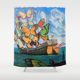 Salvador Dalí - Ship with butterfly sails Shower Curtain