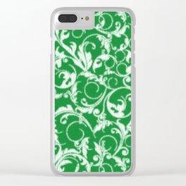 Green Swirls Clear iPhone Case