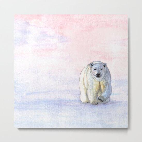 Polar bear in the icy dawn Metal Print