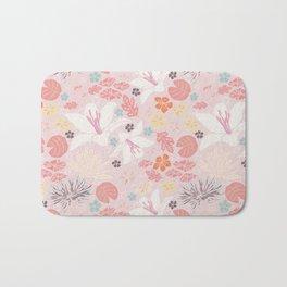 Pink Japanese pond florals Bath Mat