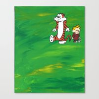 calvin and hobbes Canvas Prints featuring Calvin & Hobbes - Green by Always Add Color