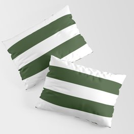 Large Dark Forest Green and White Cabana Tent Stripes Pillow Sham
