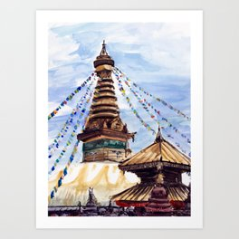 Swayambhunath Stupa Kathmandu Nepal Art Print