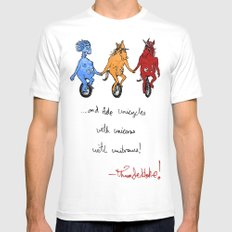 unite! and ride unicycles with unicorns with unibrows! Mens Fitted Tee White SMALL