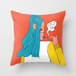 Blue hair girl Throw Pillow