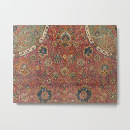 Persian Medallion Rug IV // 16th Century Distressed Red Green Blue Flowery Colorful Ornate Pattern Metal Print