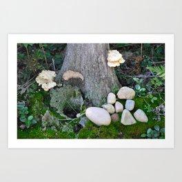 Stone and stump Art Print