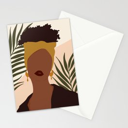 Boho Black Woman Portrait  Stationery Cards