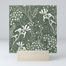 Woodland Floral and Plant Spring Growth on Forest Green Mini Art Print