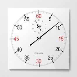 Stop Watch Face Metal Print