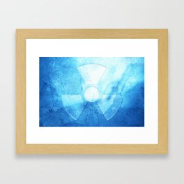 A radiation warning symbol on an ice background. Framed Art Print