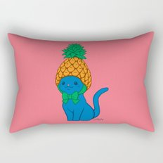 Blue Cat Wears Pineapple Hat Rectangular Pillow
