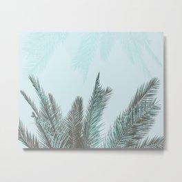 Teal Tropical Palm Leaves Metal Print