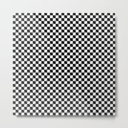Small Black and White Checker Dog Paws Metal Print