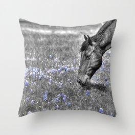 Horse & Bluebonnets Throw Pillow