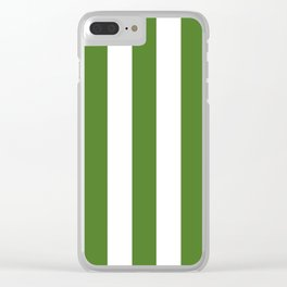 Sap green - solid color - white vertical lines pattern Clear iPhone Case