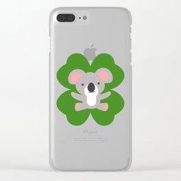 Koala On 4 Leaf Clover- St. Patricks Day Animal Clear iPhone Case