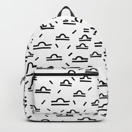 Libra Symbol Pattern Simple Black and White Drawn Backpack