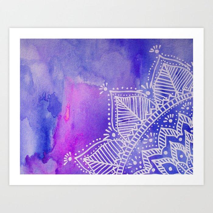 Mandala flower on watercolor background - purple and blue Kunstdrucke