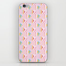 Girly Pink Triangles Memphis Style Geometric Abstract Seamless Vector Pattern iPhone Skin