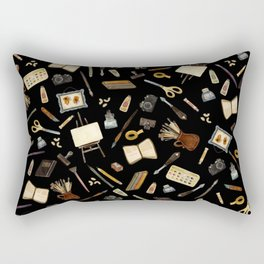 Creative Artist Tools - Watercolor on Black Rectangular Pillow