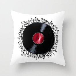 Musical Notes Record Throw Pillow